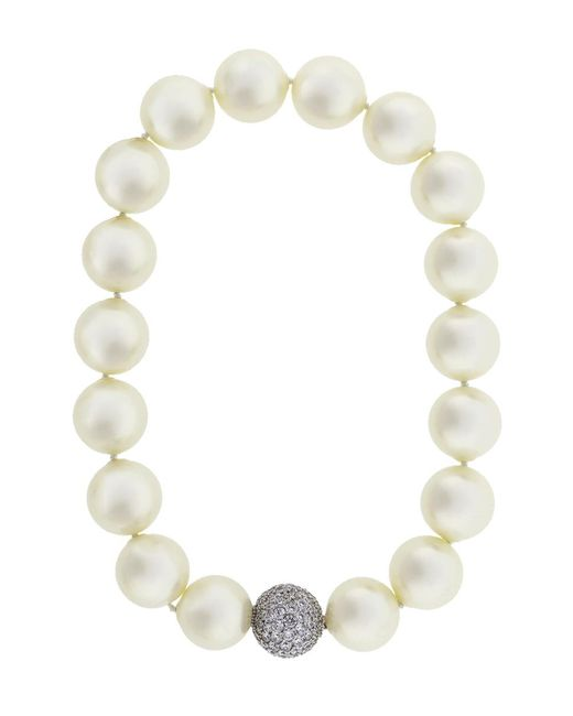 Fantasia Jewelry - Multicolor Pearl With Cubic Zirconia Pave Ball Necklace - Lyst