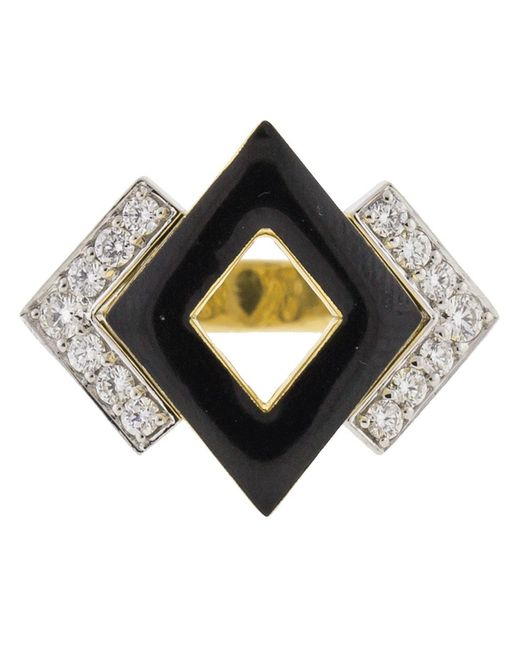 David Webb - Metallic Double Diamond And Black Enamel Ring - Lyst