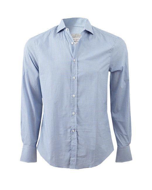 Brunello Cucinelli Blue Check Spread Collar Shirt for men