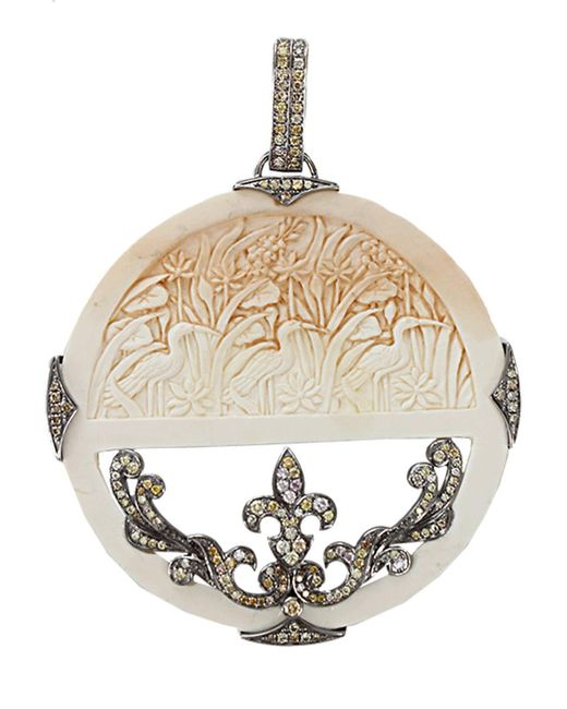Bochic White Carved Mammoth And Diamond Pendant