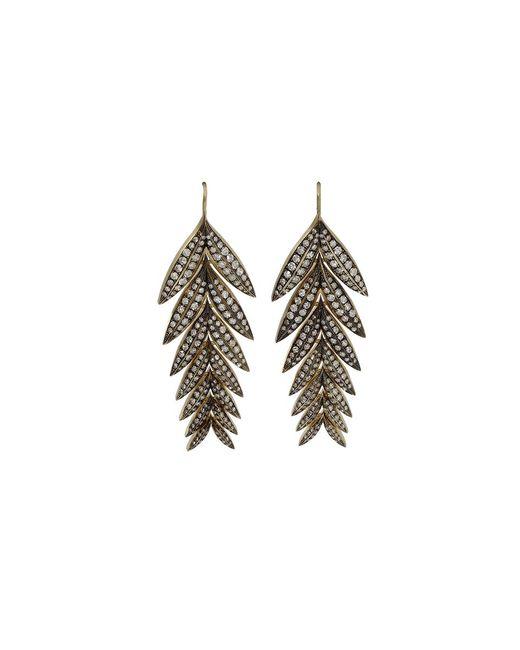 Sylva & Cie | Metallic Diamond Feather Earrings | Lyst