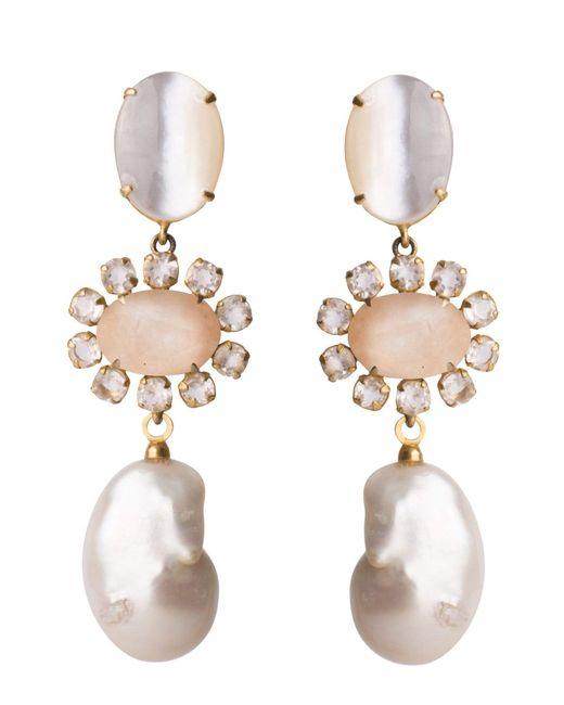 Bounkit Metallic 4-in-1 Mother Of Pearl & Rose Quartz Earrings