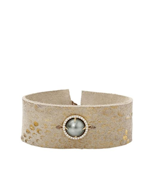 Jordan Alexander | Metallic Pearl Slice Leather Bracelet | Lyst