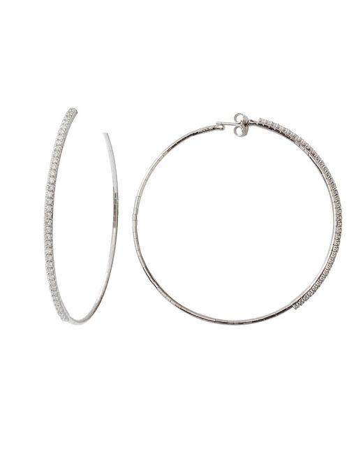 Mattia Cielo Metallic Rugiada Collection Tennis Diamond Hoop Earrings