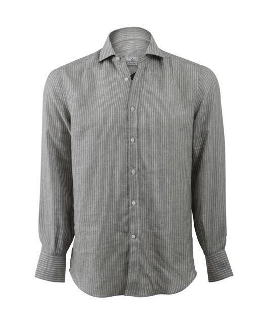 Brunello Cucinelli   Gray Stripe Spread Collar Shirt for Men   Lyst