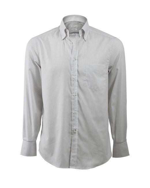 Brunello Cucinelli - Gray Stripe Spread Collar Shirt for Men - Lyst