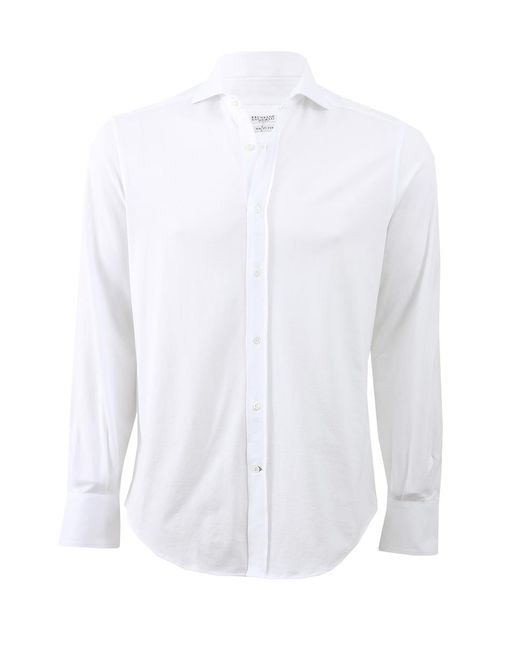Brunello Cucinelli | White Jersey Collared Shirt for Men | Lyst