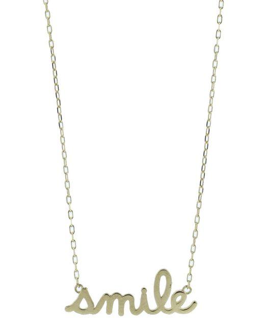 Sydney Evan - Metallic Smile Script Necklace - Lyst