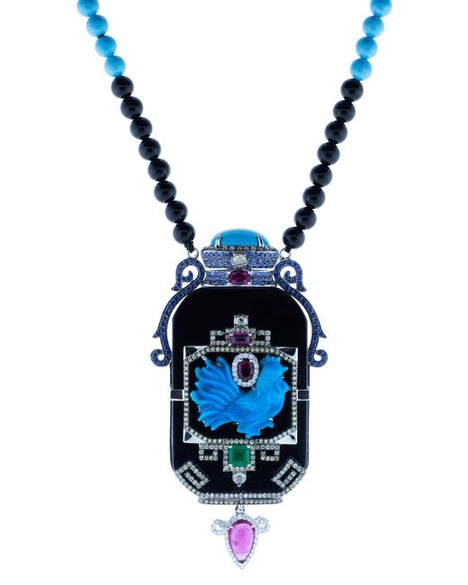 Wendy Yue | Blue Turquoise And Black Jade Necklace | Lyst