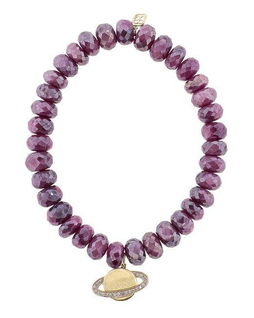 Sydney Evan - Purple Saturn Charm Bracelet - Lyst