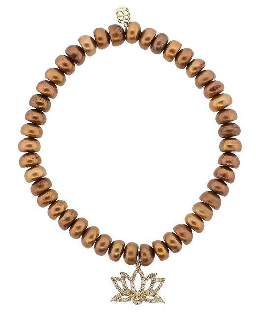 Sydney Evan - Brown Lotus Flower Charm Bracelet - Lyst