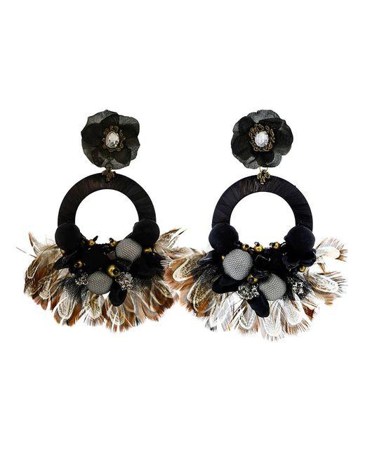 Ranjana Khan - Black Drop Hoop Feather Earrings - Lyst
