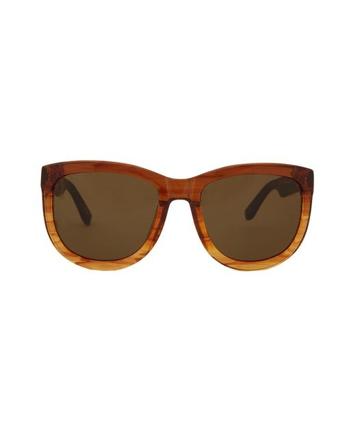 The Row - Brown Mahogany Leather Sunglasses - Lyst