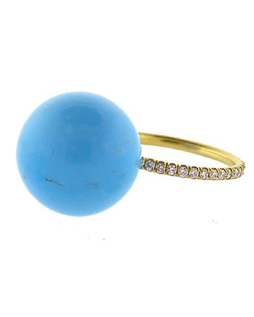 Irene Neuwirth - Blue Kingman Turquoise Diamond Pave Ring - Lyst