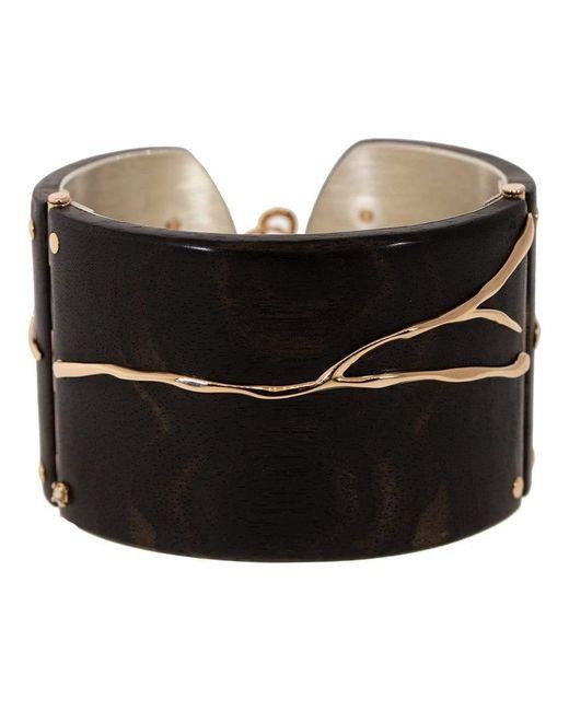 Federica Rettore Black Alba Ebony Wood And Diamond Cuff