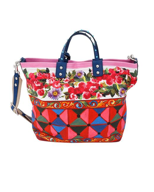 Dolce & Gabbana - Red Rose Print Tote Bag - Lyst