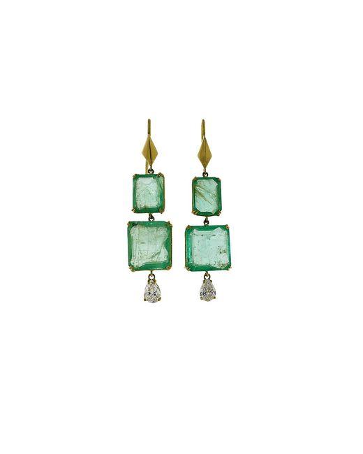 Sylva & Cie - Green Emerald And Pear Shape Diamond Earrings - Lyst