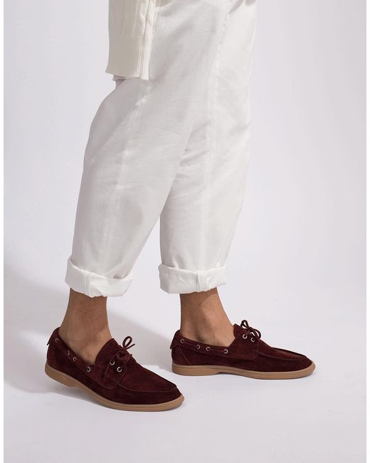 Wine Suede Boat Shoe for Men - Lyst