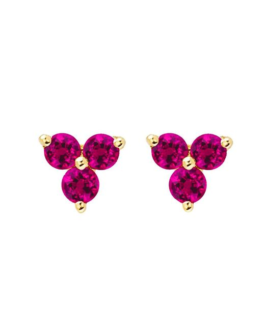 EF Collection - Purple Ruby Trio Stud Earrings - Lyst