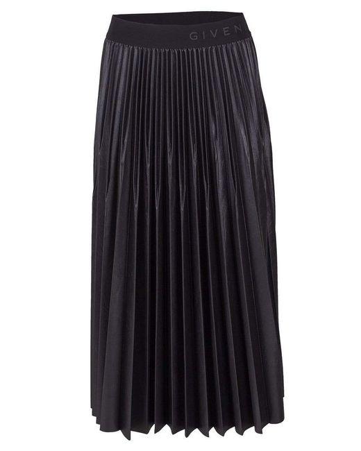 Givenchy Black Waistband Pleated Skirt