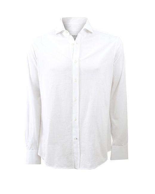 Brunello Cucinelli - White Jersey Button Down Shirt for Men - Lyst