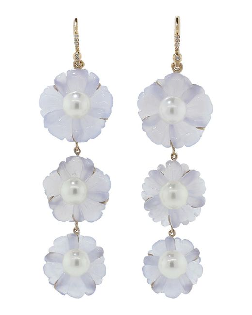 Irene Neuwirth - Blue Chalcedony Carved Flower Earrings - Lyst