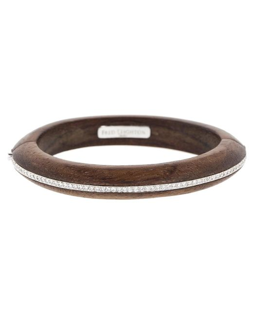 Fred Leighton - Brown Palisander Wood And Diamond Line Bangle - Lyst