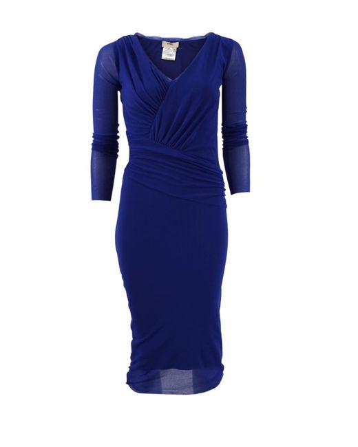 Fuzzi - Blue Sheer Sleeve Dress - Lyst