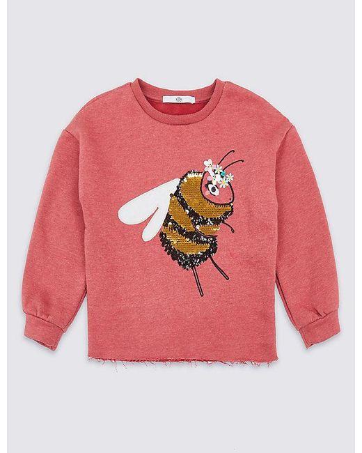 9453d016 Marks & Spencer - Pink Cotton Rich Bee Sequin Sweatshirt (3-16 Years) ...