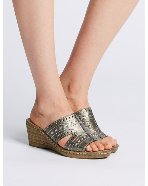 bba185c9843 ... Marks   Spencer - Multicolor Wide Fit Leather Wedge Heel Mule Sandals  ...
