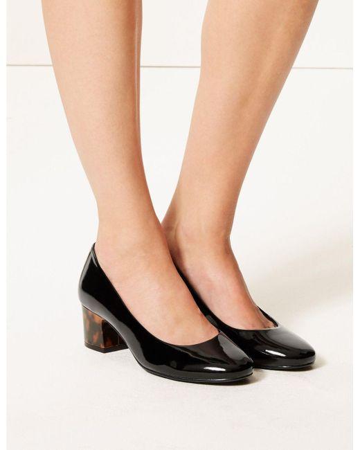 52d7087bb87 Women's Wide Fit Block Heel Court Shoes Black Patent