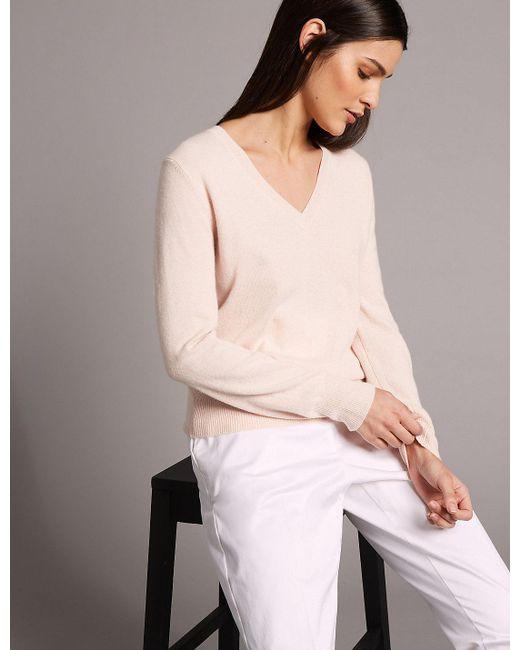 Marks & Spencer - Pink Pure Cashmere Ribbed Hem V-neck Jumper - Lyst
