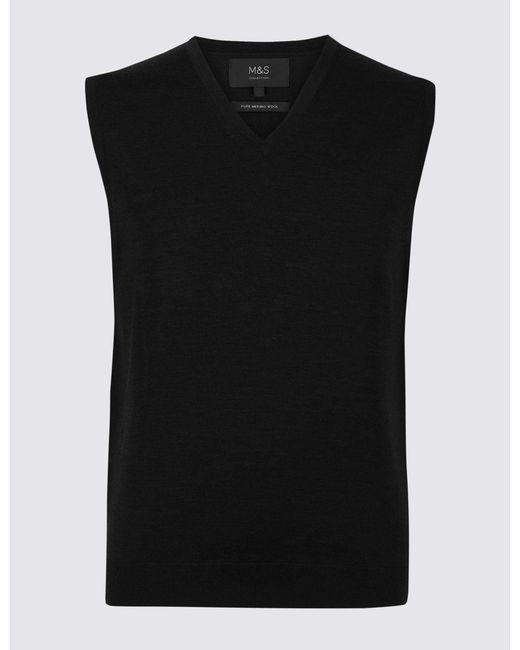 Marks & Spencer - Black Pure Merino Wool Sleeveless Jumper for Men - Lyst