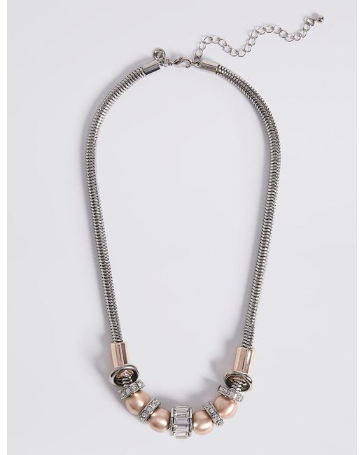 Marks & Spencer | Multicolor Baguette Rondelle Necklace | Lyst