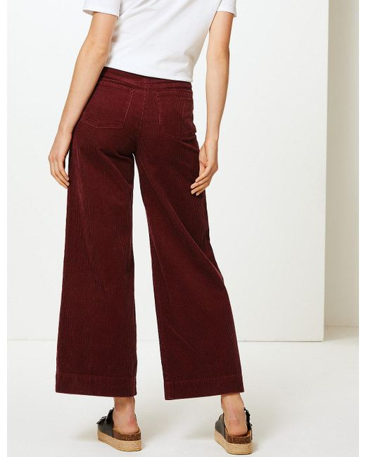 97771379e14f3 Lyst - Marks   Spencer Pure Cotton Wide Leg Ankle Grazer Trousers in Red