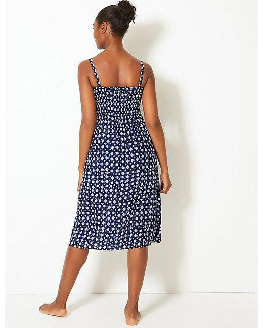 14c0cc35a2 Lyst - Marks   Spencer Shirred Beach Slip Dress in Blue