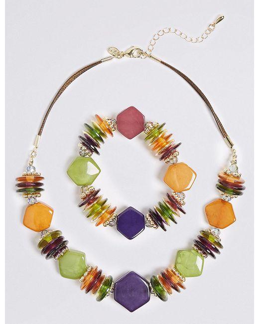 Marks & Spencer | Metallic Chunky Nugget Necklace & Bracelet Set | Lyst
