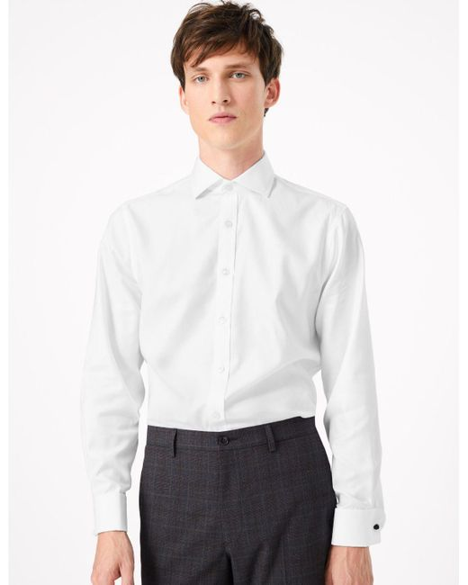 Marks and Spencer Mens White Shirt Tailored Non Iron Pure Cotton Button Cuff LS