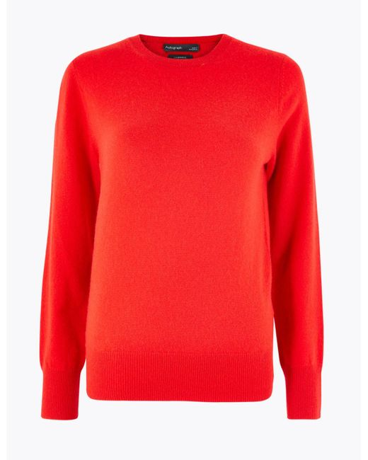 Marks & Spencer Red Pure Cashmere Round Neck Jumper