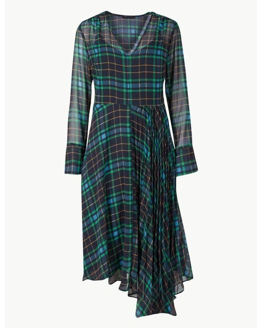398089fc61 Marks & Spencer - Blue Checked Fit And Flare Midi Dress - Lyst ...
