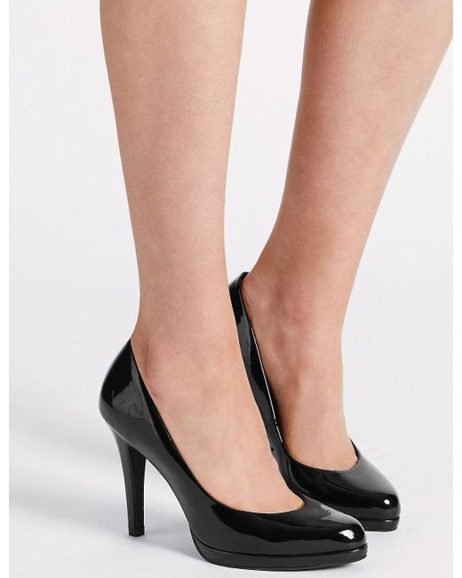 Marks & Spencer - Black Stiletto Platform Court Shoes - Lyst