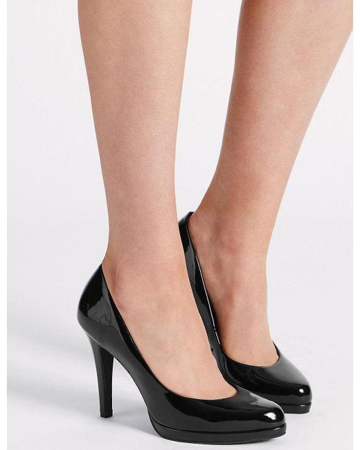 Marks & Spencer - Black Stiletto Platform Patent Court Shoes - Lyst
