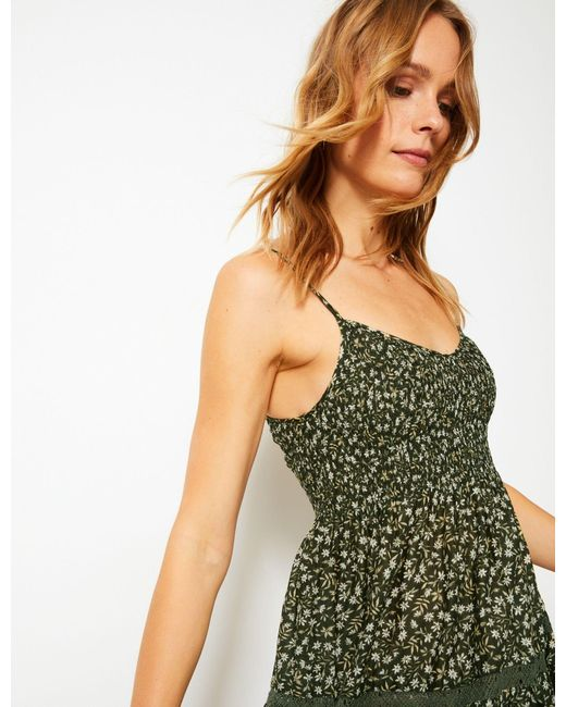 0699a1deaf722 ... Marks & Spencer - Green Pure Cotton Floral Print Swing Midi Dress ...