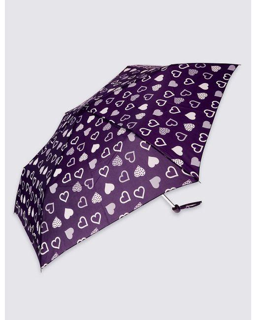 Marks & Spencer | Purple Heart Print Umbrella With Stormweartm | Lyst