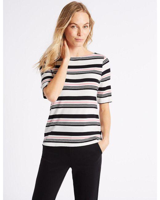 Marks & Spencer   Pink Striped Slash Neck Half Sleeve T-shirt   Lyst