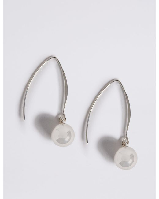 Marks & Spencer - Metallic Silver Plated Floating Ball Drop Earrings - Lyst