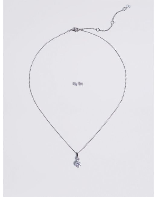 Marks & Spencer - Metallic Platinum Plated Necklace & Earrings Set - Lyst