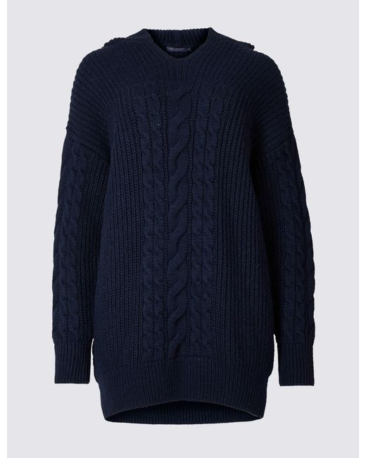 Marks & Spencer - Blue Hooded Cable Knit Jumper - Lyst