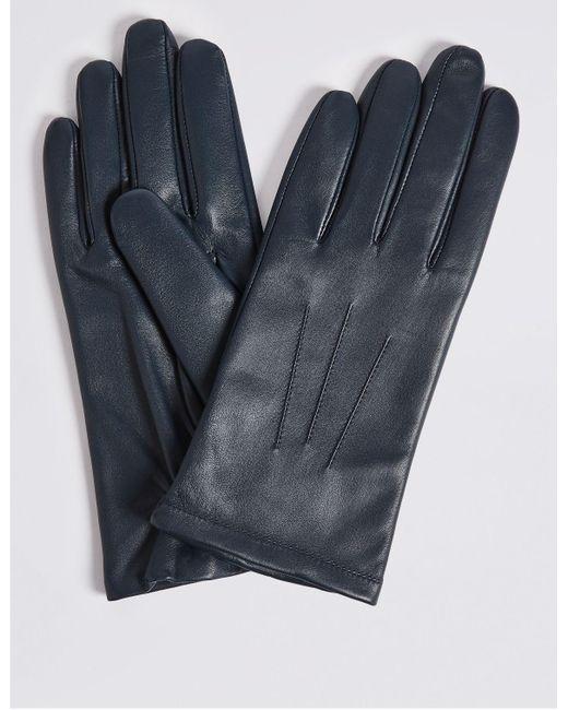 Marks & Spencer Blue Leather Gloves Navy