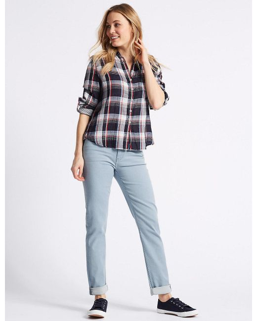Marks & Spencer - Blue Relaxed Slim Mid Rise Jeans - Lyst